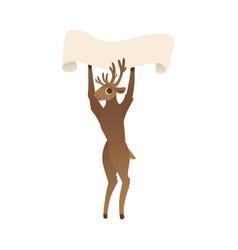Reindeer holding blank vector