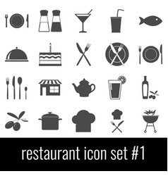 restaurant icon set 1 gray icons on white vector image