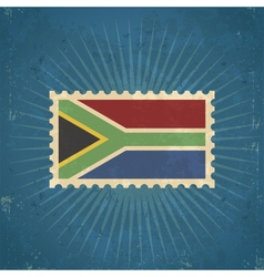 Retro South Africa Flag Postage Stamp vector image