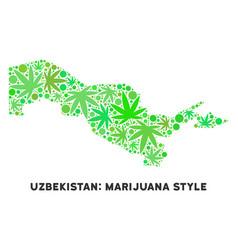 Royalty free cannabis leaves style uzbekistan map vector