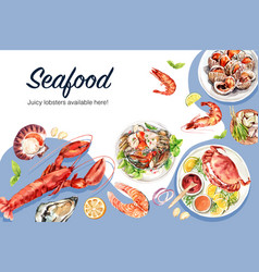 Seafood frame design with lobster fish crab vector