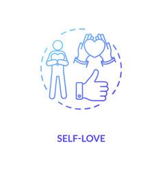 Self love blue gradient concept icon vector