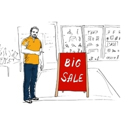 Seller showing stand big sale vector