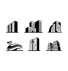 set black and white building icons vector image