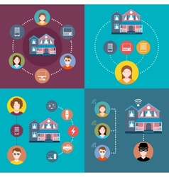 Set elements of infographics smart home vector