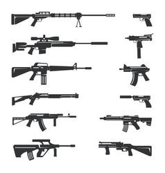 Set guns icons vector