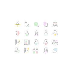 set line icons management vector image