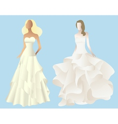 Set of stylized silhouettes of a bride in her wedd vector image