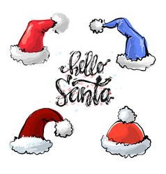 Set red and blue christmas santa claus hats vector