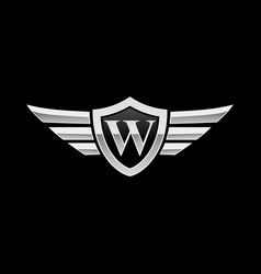 Shield initial letter w wing icon logo vector