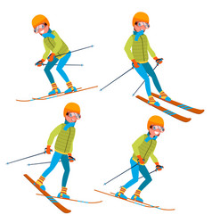 Skiing male with goggles and ski suit vector