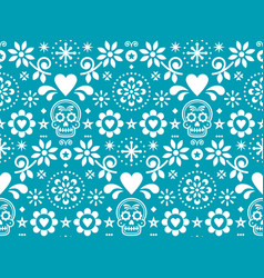 sugar skull seamless pattern inspired me vector image