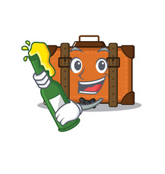 Suitcase with in cartoon bring beer shape vector