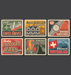 Swiss famous objects and landmarks posters vector