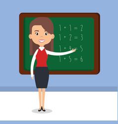 teacher school with chalkboard avatar character vector image