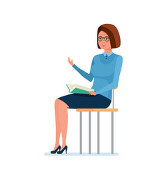 Teacher sitting on chair holding book and vector