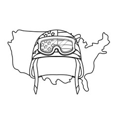 united state map and military helmet black and vector image
