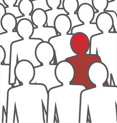 Unusual person in crowd concept vector