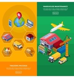 Warehouse Isometric Banners vector