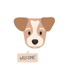 Welcome flat style dog head with opened eyes and vector