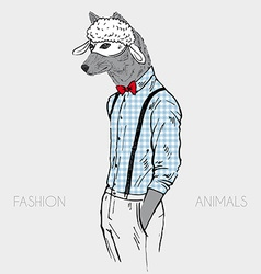 wolf in a sheep mask hand drawn design vector image