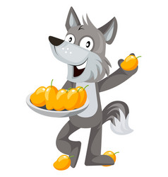 Wolf with mangos on white background vector