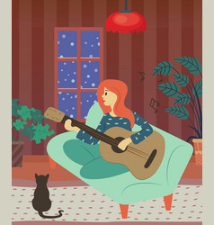 Woman playing guitar character with cat at home vector