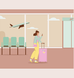 woman with luggage using smartphone walking in vector image