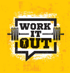 work it out workout and fitness gym strong design vector image