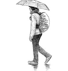 Young man goes under umbrella vector