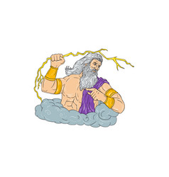 zeus wielding thunderbolt lightning drawing vector image