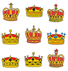 doodle of gold crown elegant collection vector image vector image
