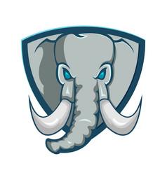 elephant shield logo cartoon symbol vector image vector image