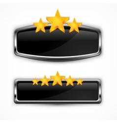 Metallic icon with stars vector image vector image