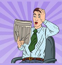 Pop art shocked businessman reading newspaper vector