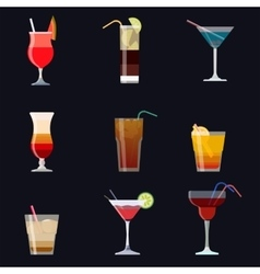 Set of alcoholic cocktails isolated on black vector image