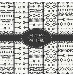 Set of hand drawn geometric ethnic seamless vector image