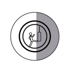 Sticker of monochrome pictogram with man kicking a vector