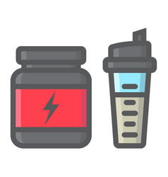 whey protein with shaker filled outline icon vector image