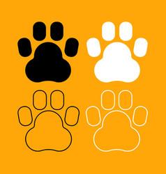 animal footprint set black and white icon vector image