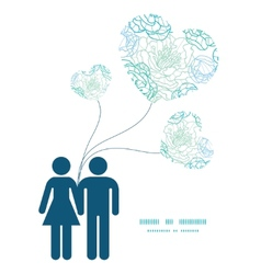 blue line art flowers couple in love silhouettes vector image