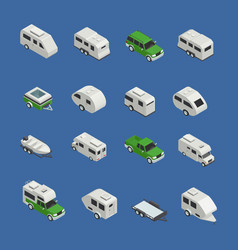 recreational vehicles isometric icons set vector image vector image