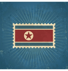 Retro North Korean Flag Postage Stamp vector image vector image