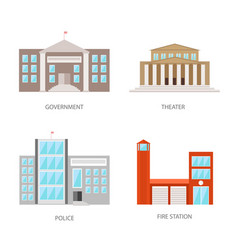 set of urban buildings in a flat style government vector image vector image