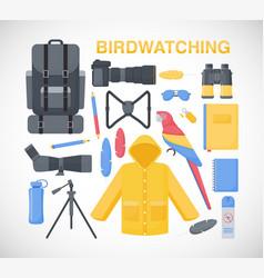 birdwatching flat icons set vector image vector image