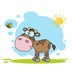 Brown Calf Watching A Bee On A Sunny Day vector image