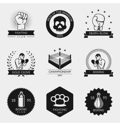 Fighting and boxing black logo set vector image