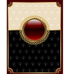 golden vintage frame with floral medallion - vector image vector image