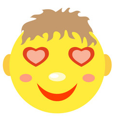 in love smiley boy vector image vector image