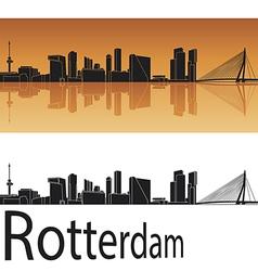 Rotterdam skyline in orange background vector image vector image